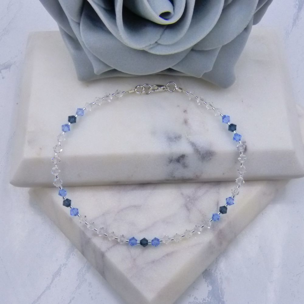 Montana Blue/Light Sapphire & Clear Crystal Anklet
