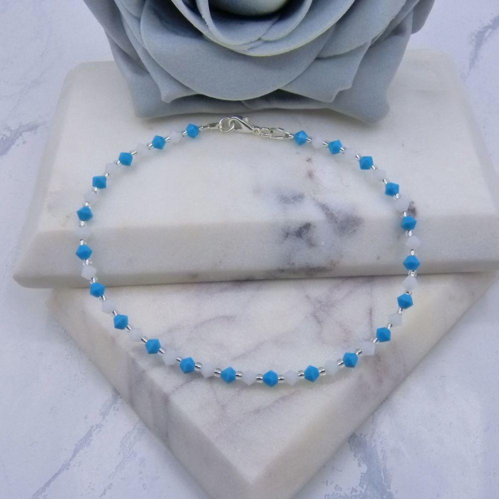 Turquoise & White Crystal Bracelet