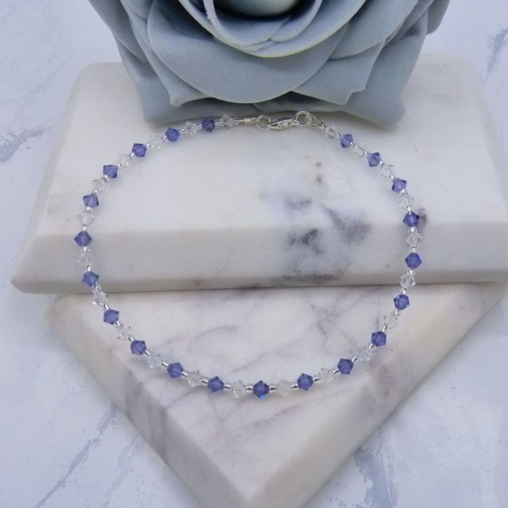 Tanzanite & Clear Crystal Anklet