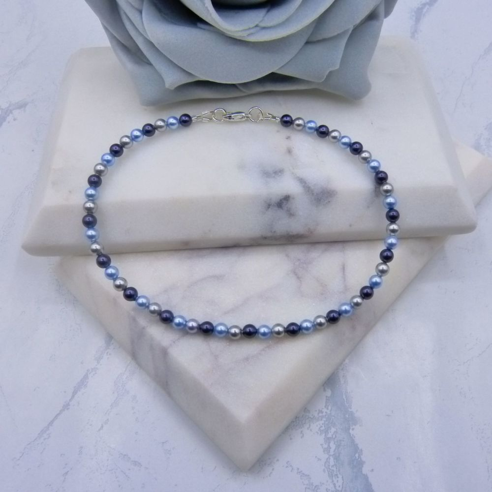 Purple/Grey & Light Blue Pearl Anklet