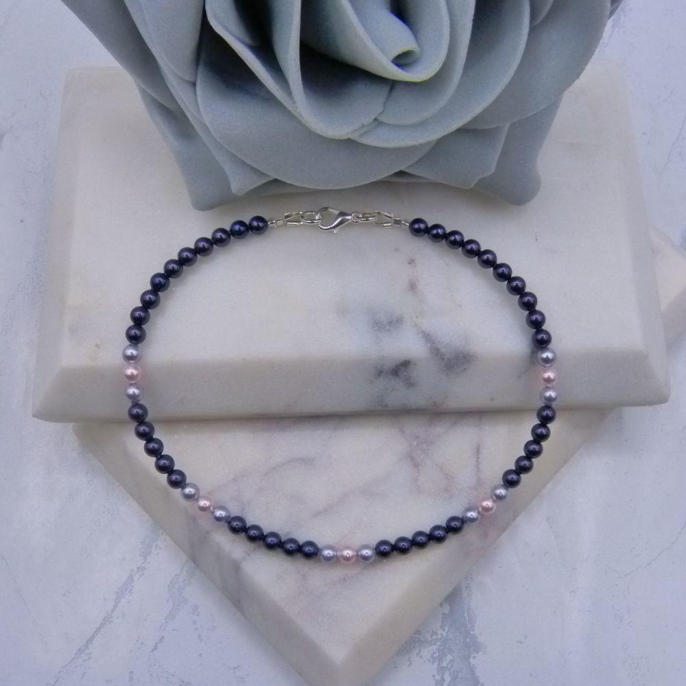 Purple/Lavender & Pale Pink Pearl Anklet