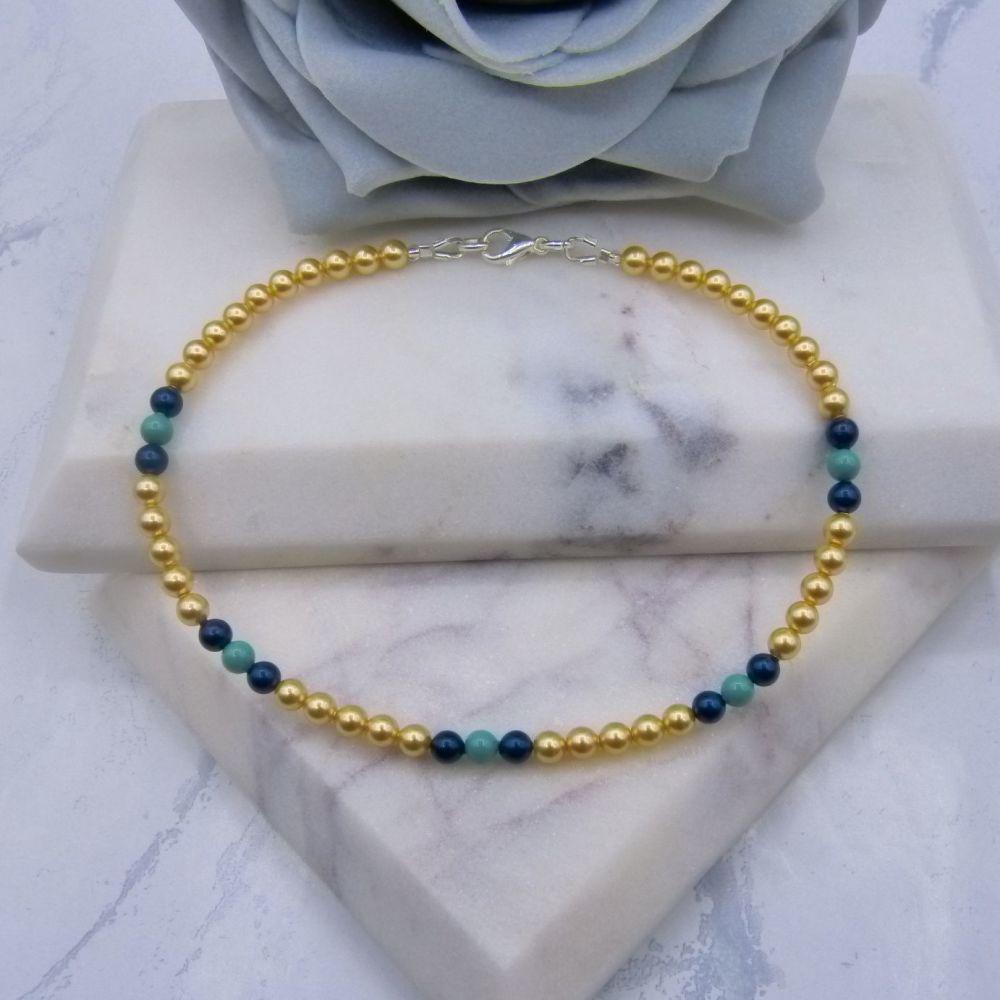 Gold/Jade & Petrol Green Pearl Anklet