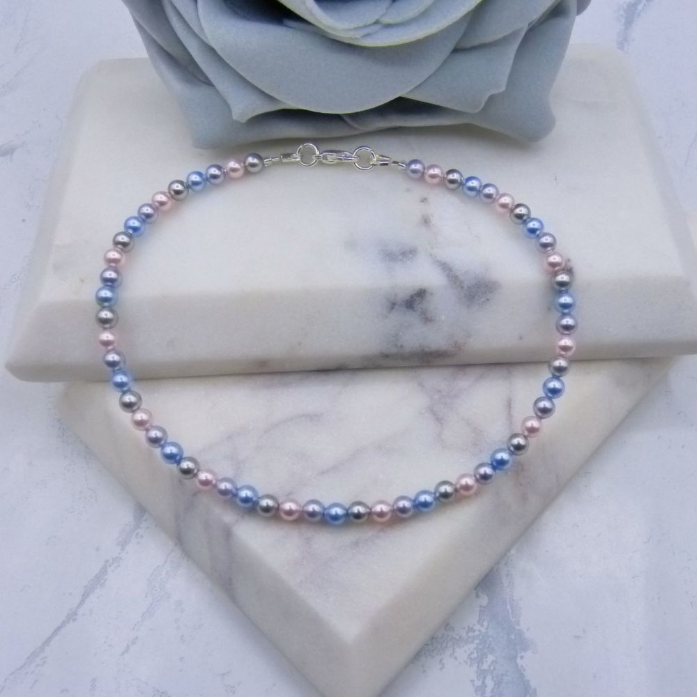 Blue/Pink/Lilac & Grey Pearl Anklet