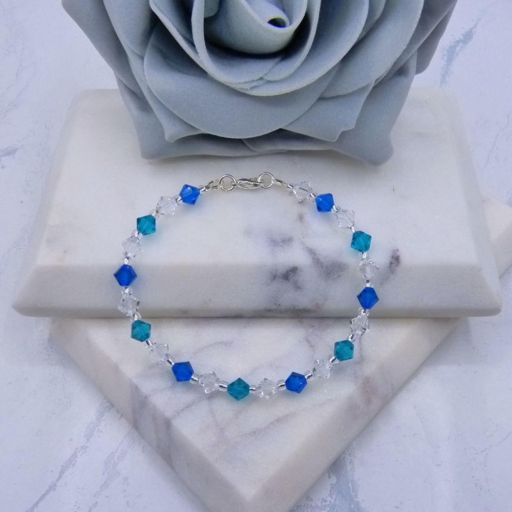 Blue Zircon/Capri Blue & Clear Bicone Crystal Bracelet