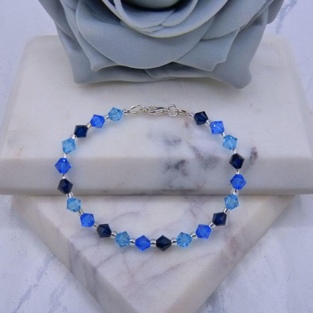 Dark Indigo/Sapphire & Aqua Blue Crystal Bracelet