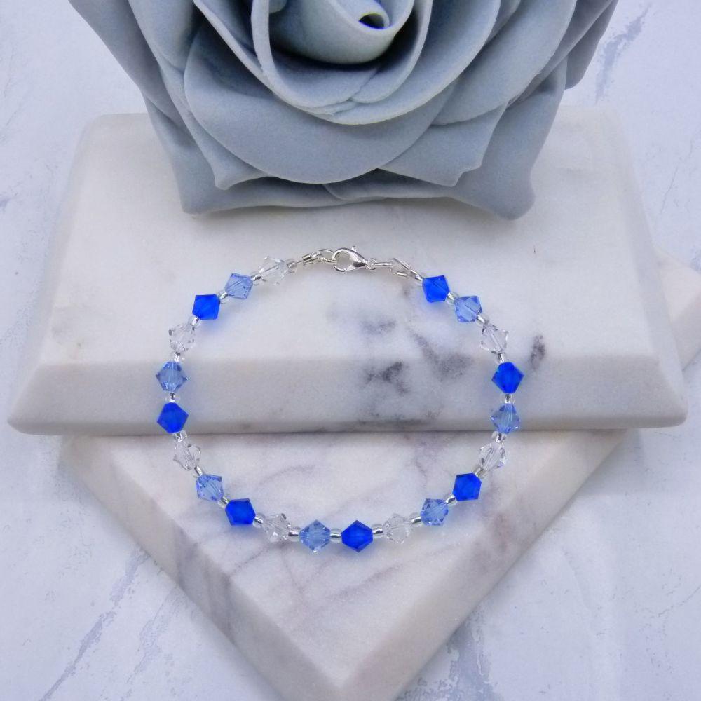 Majestic Blue/Light Sapphire & Clear Crystal Bracelet
