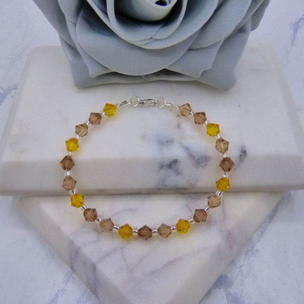 Double Topaz & Sunflower Yellow Crystal Bracelet