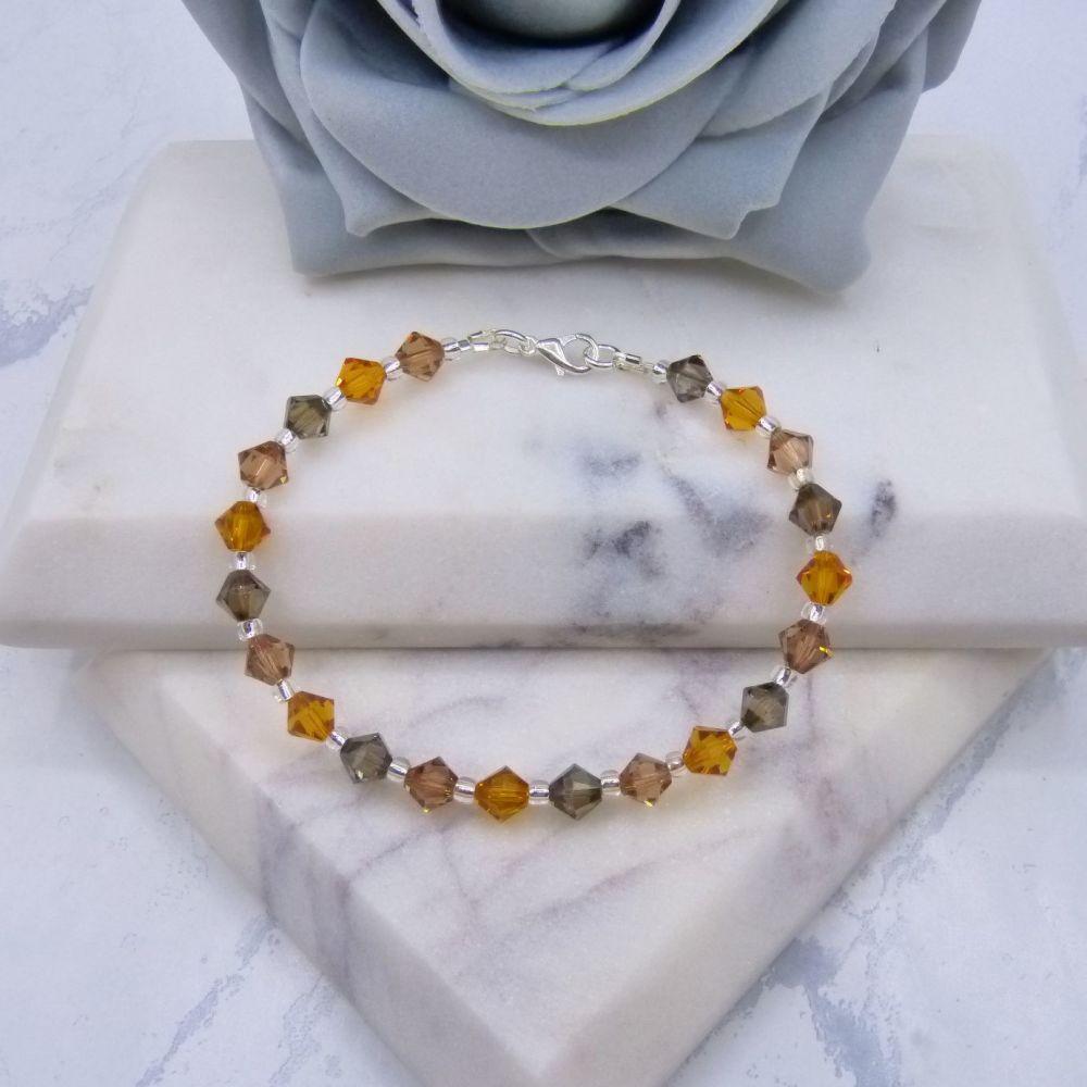 Bronze & Double Topaz Crystal Bracelet