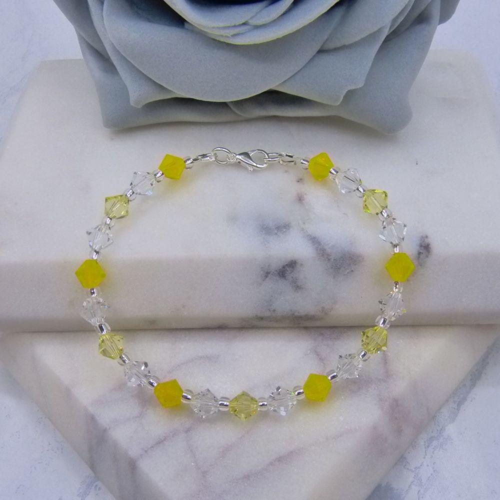 Jonquil/Yellow Opal & Clear Crystal Bracelet