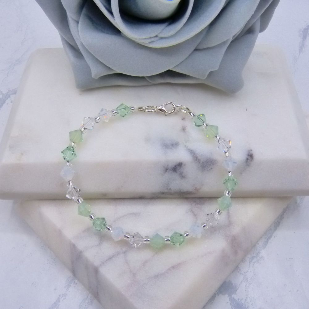 Light Green & Opal Crystal Bracelet