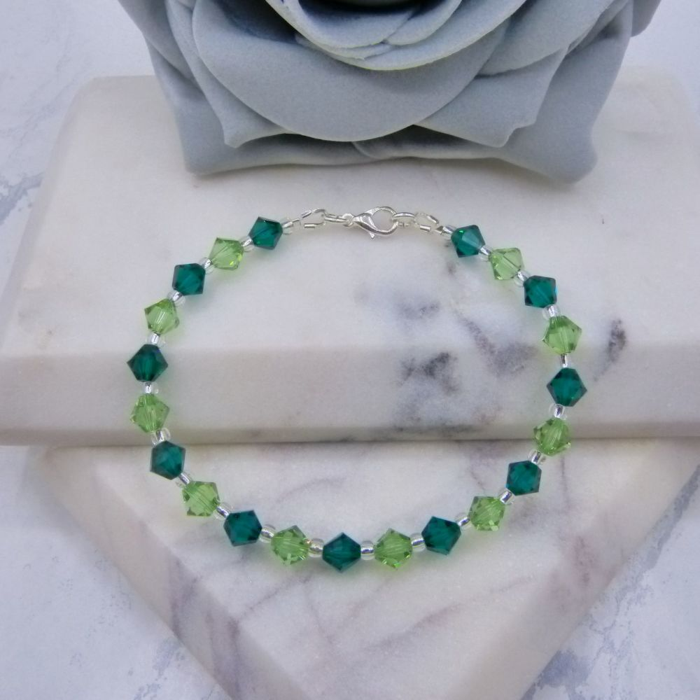 Emerald & Peridot Green Crystal Bracelet