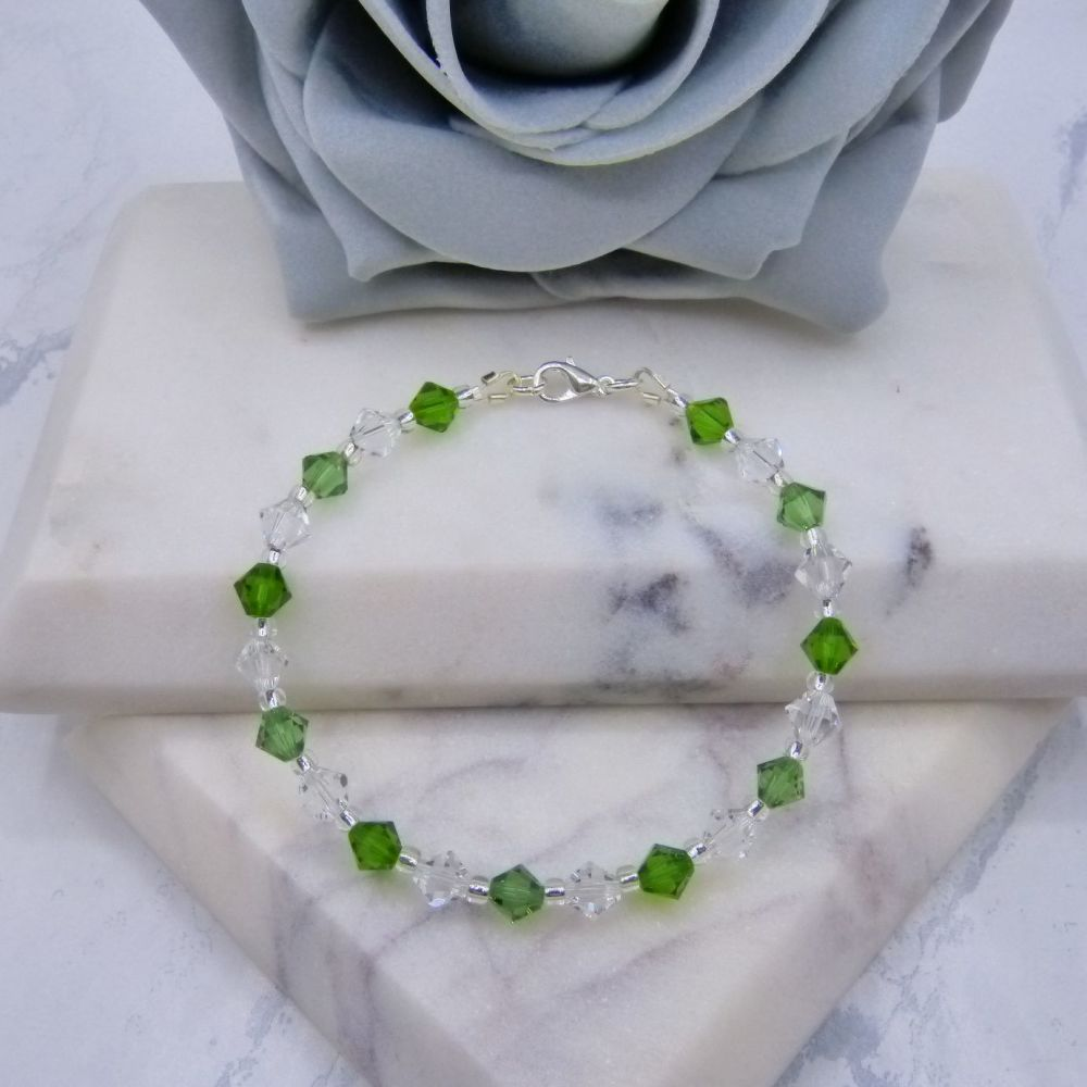 Erinite/Fern Green & Clear Crystal Bracelet