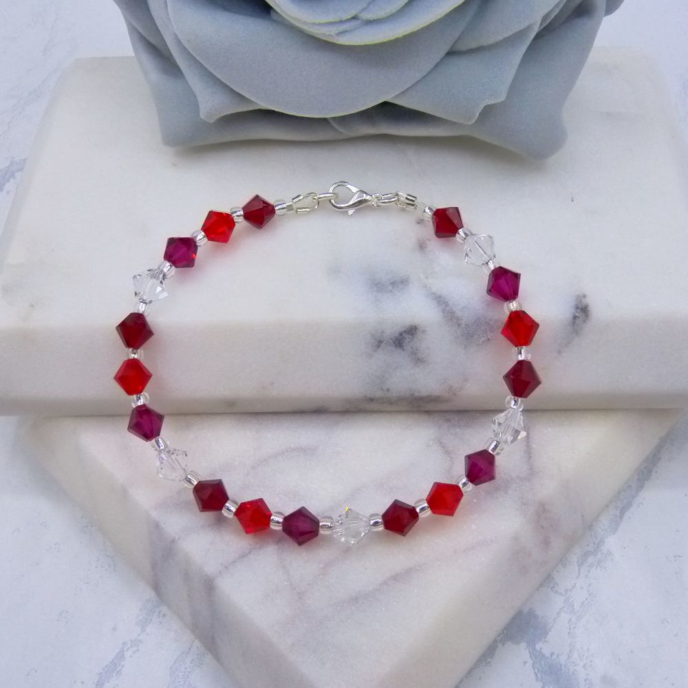 Shades of Red Crystal Bracelet