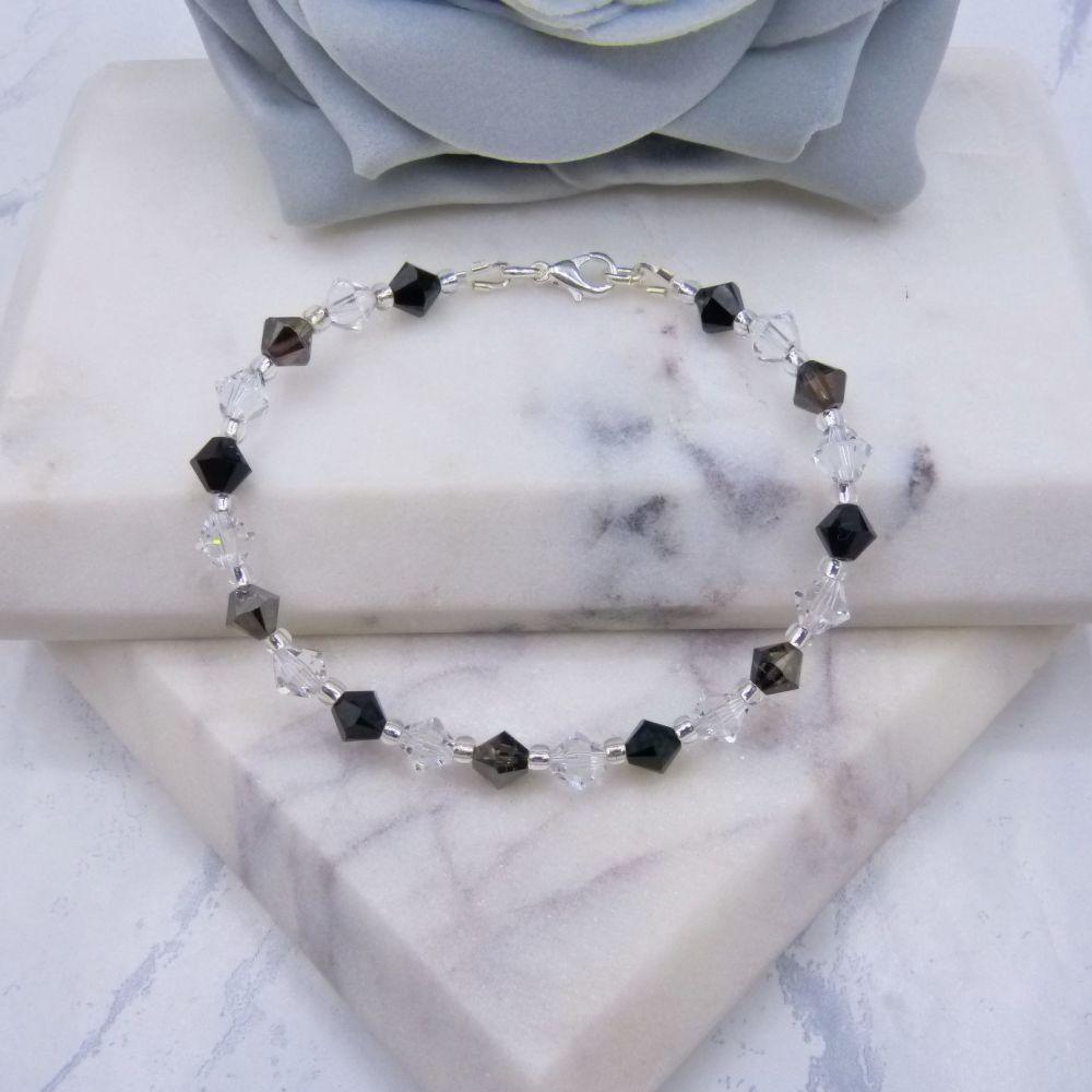 Black/Silver & Clear Crystal Bracelet