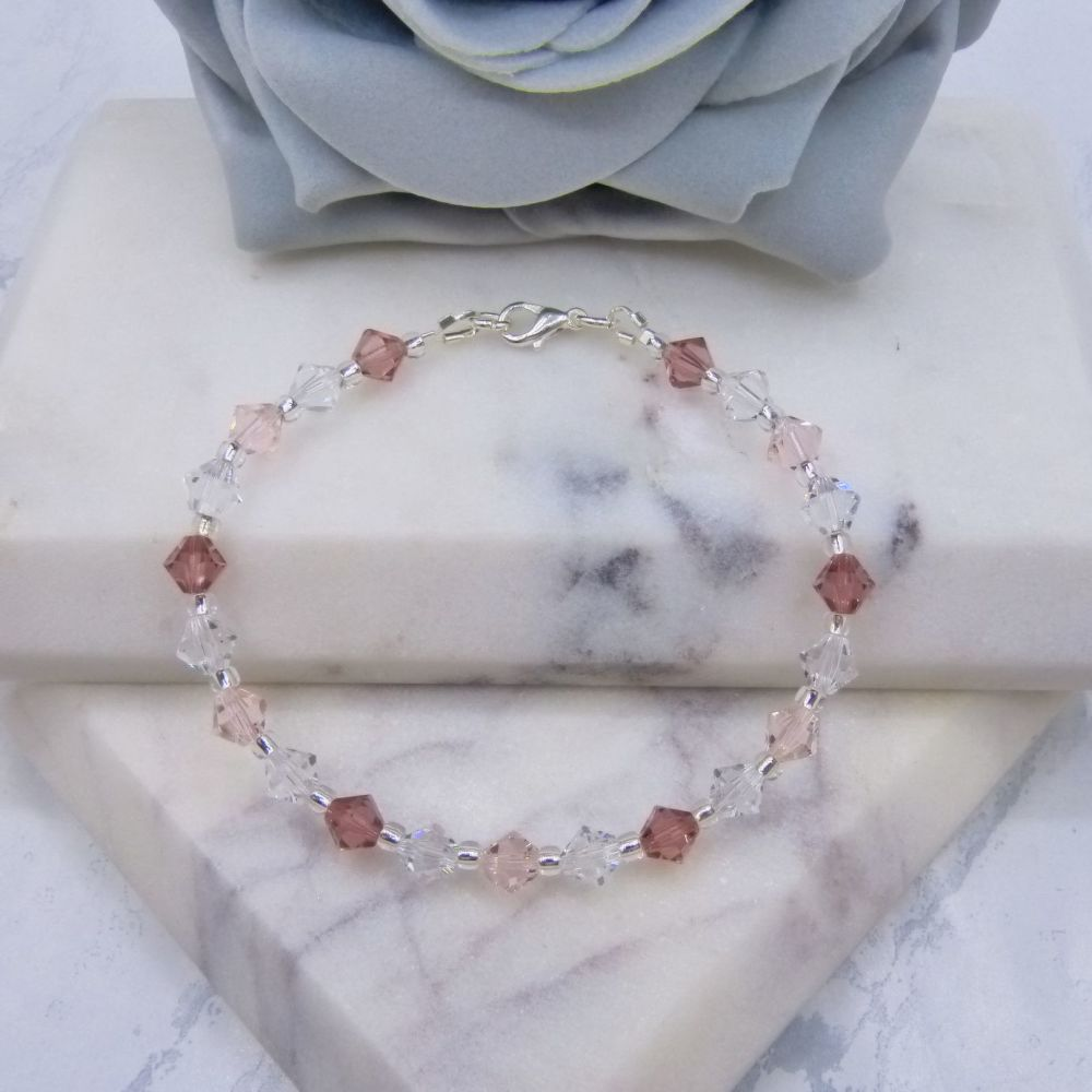 Blush/Silk Pink & Clear Crystal Bracelet