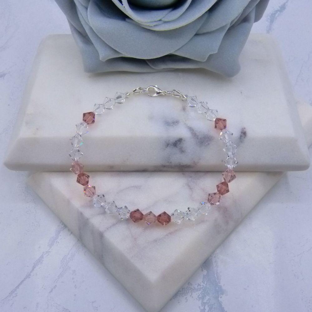 Blush Pink/Vintage Rose & Clear Crystal Bracelet