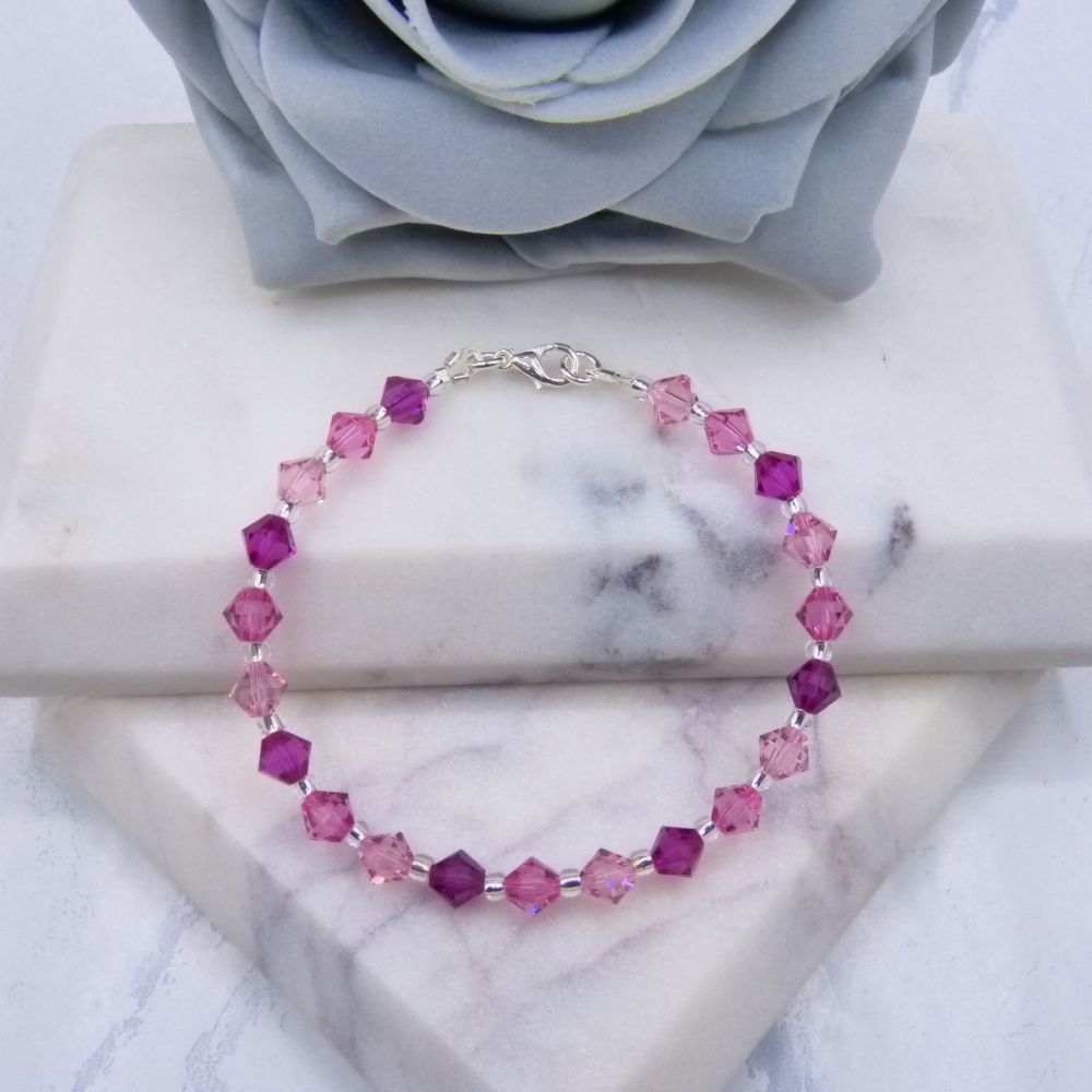 Fuchsia/Rose & Light Rose Pink Crystal Bracelet