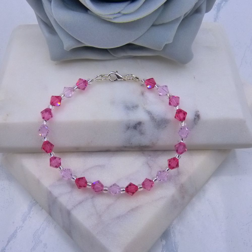 Triple Pink Crystal Bracelet