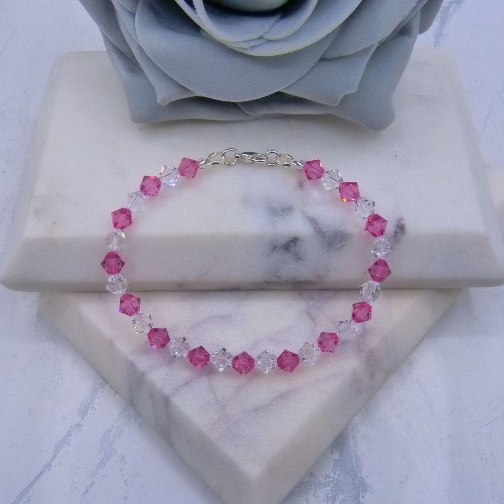 Rose Pink & Clear Crystal Bracelet