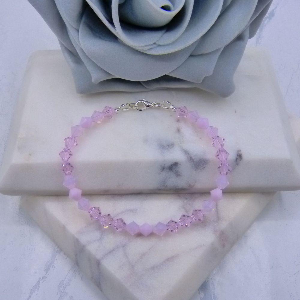 Shades of Pale Pink Crystal Bracelet