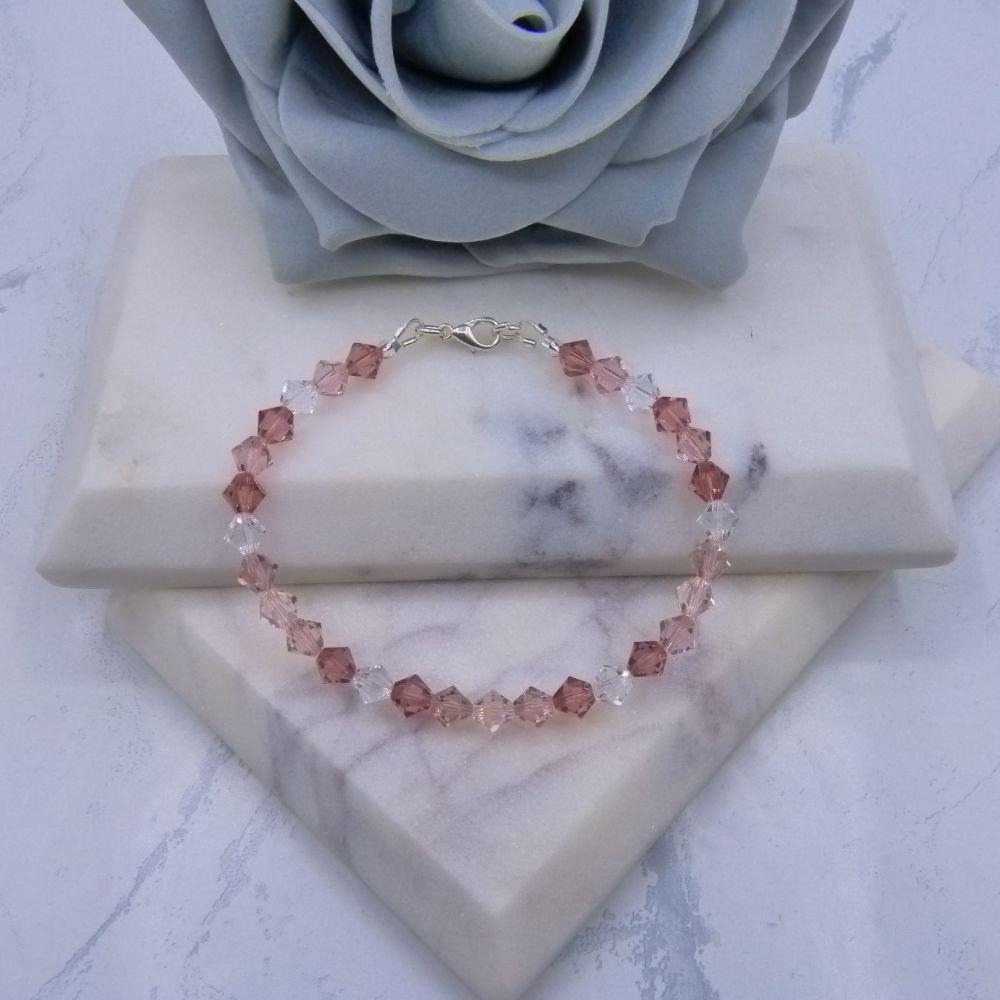 Nude Pinks & Clear Crystal Bracelet