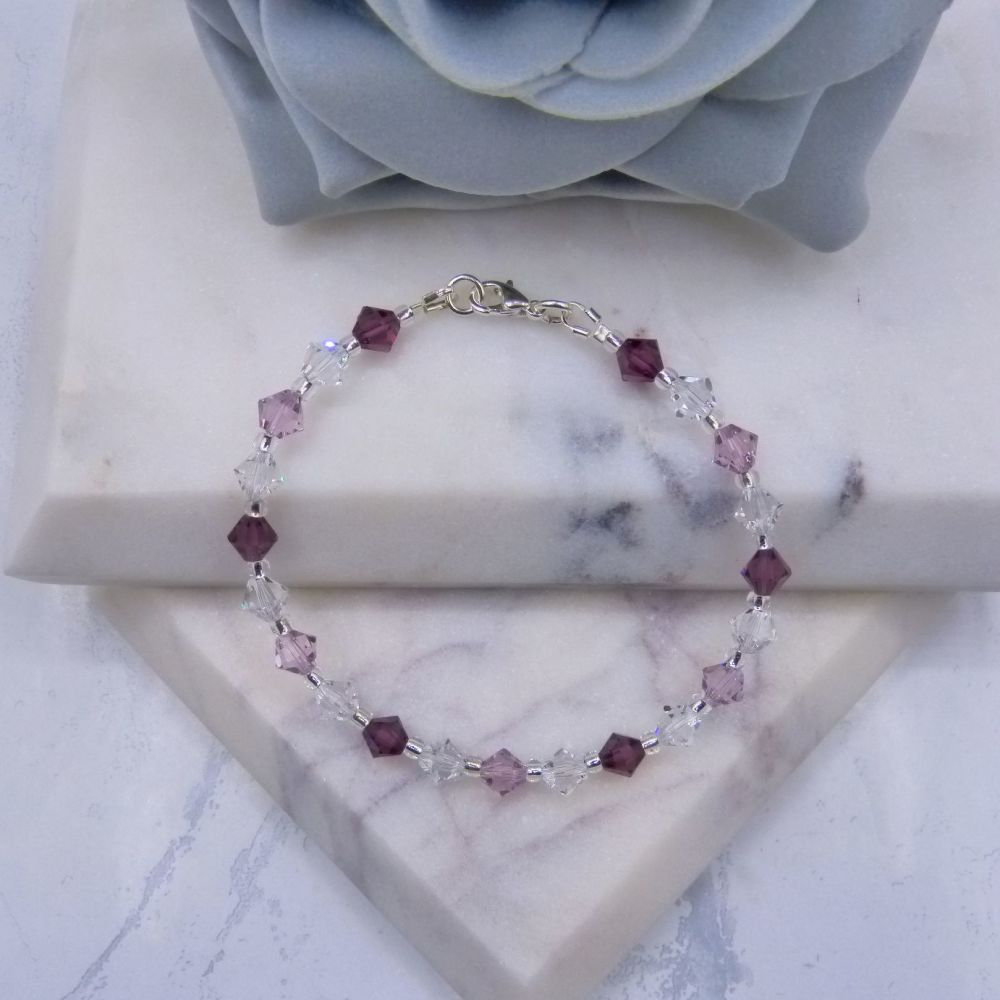 Amethyst/Light Amethyst & Clear Crystal Bracelet