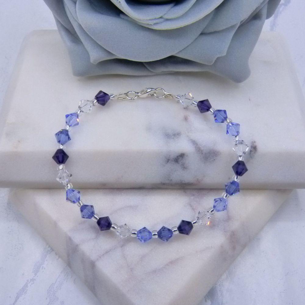 Trio of Purples & Clear Crystal Bracelet