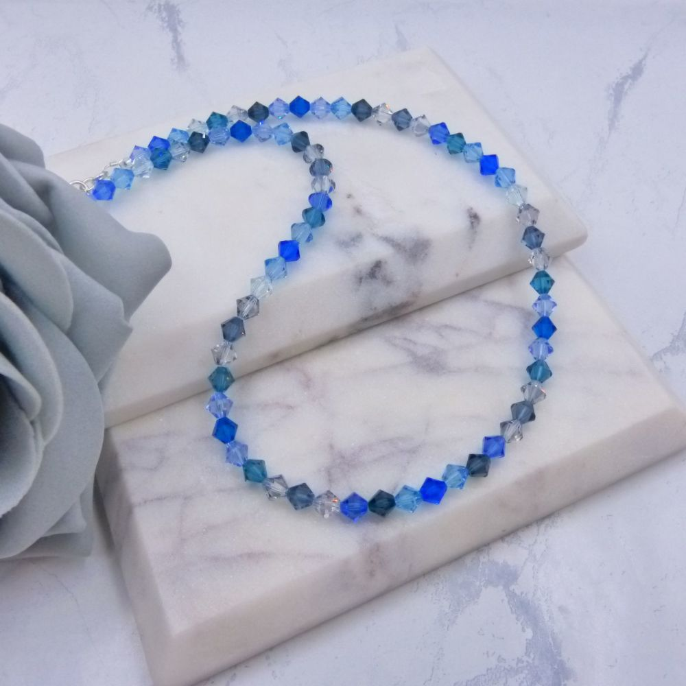 Shades of Blue Bicone Crystal Choker/Necklace