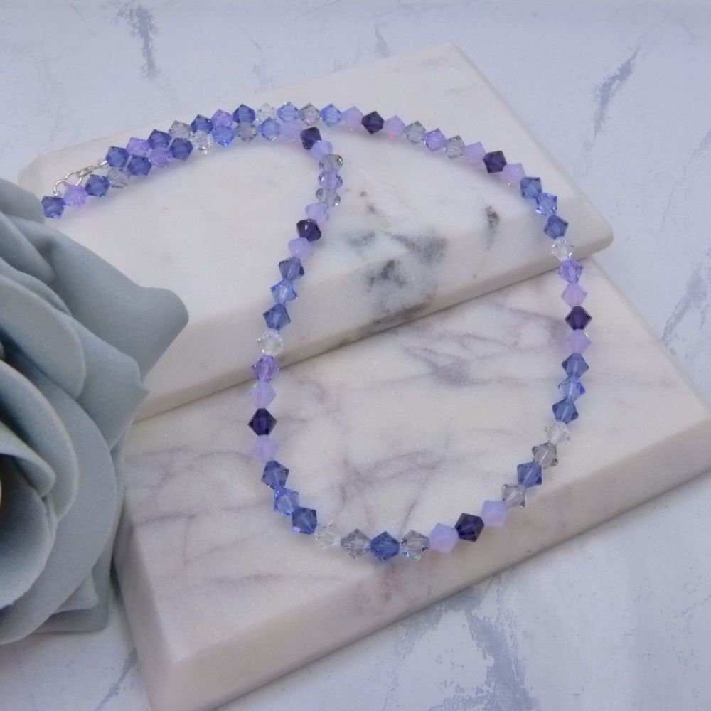 Shades of Lilac Bicone Crystal Choker/Necklace