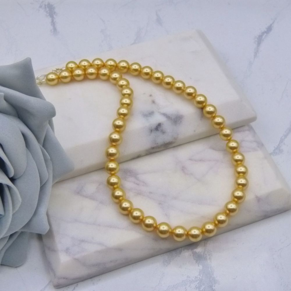 8mm Gold Pearl Choker Necklace