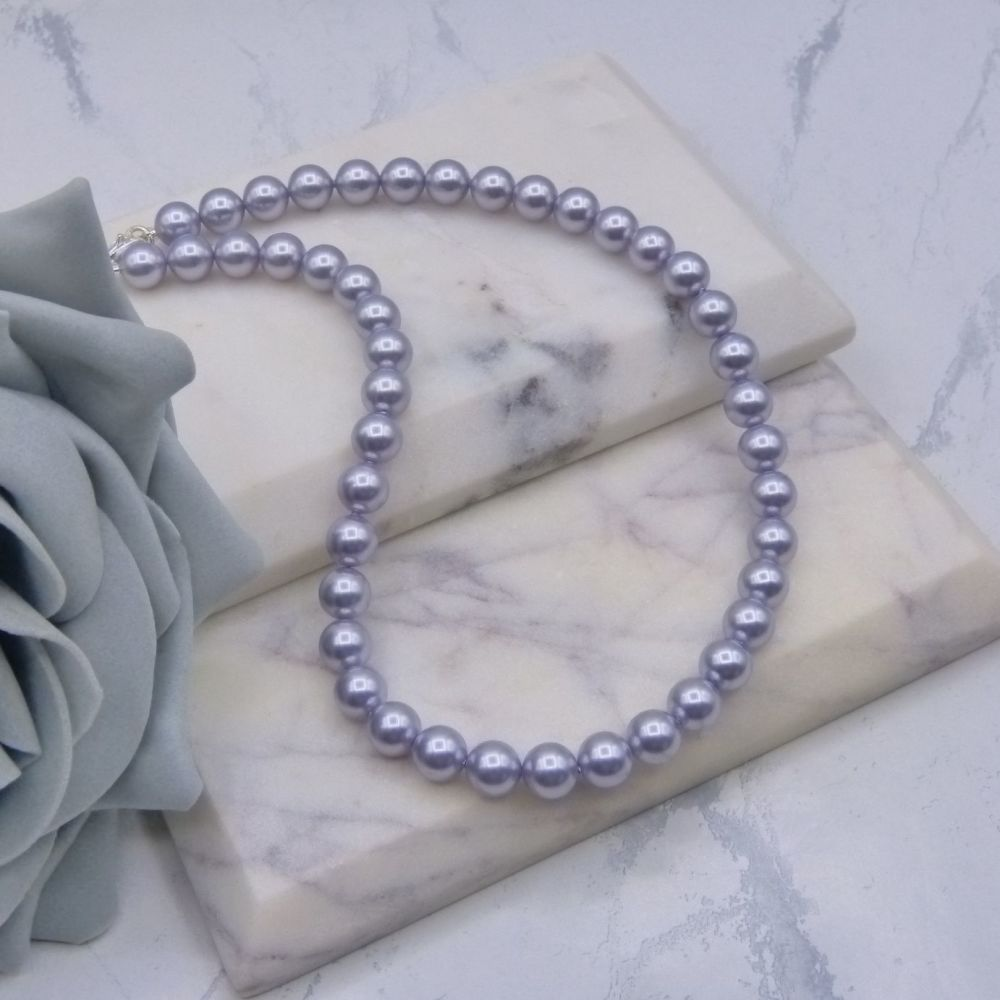 8mm Lavender Pearl Choker Necklace