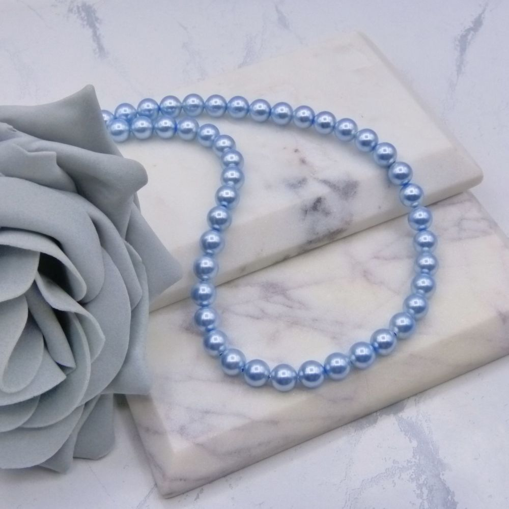 Classic Light Blue Pearl Choker Necklace