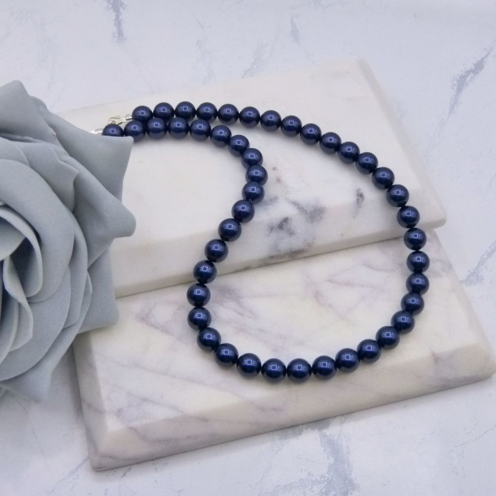 Dark Navy Blue Large Pearl Choker Necklace
