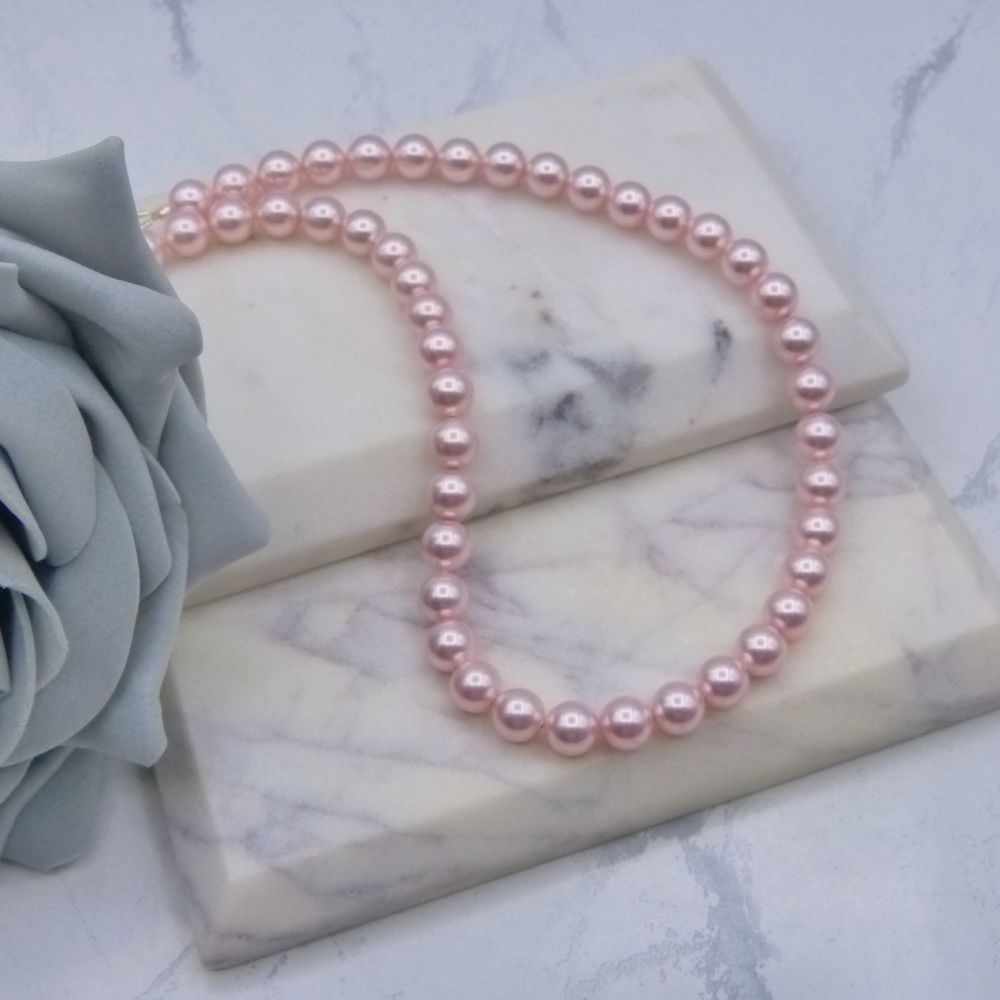 Large Light Pink Pearl Choker Necklace