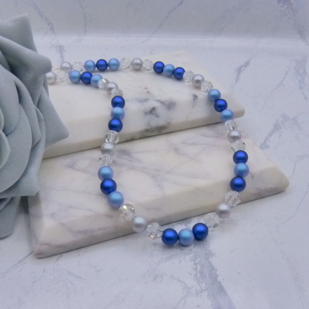 Iridescent Blue & Grey Large Pearl & Crystal Choker Necklace