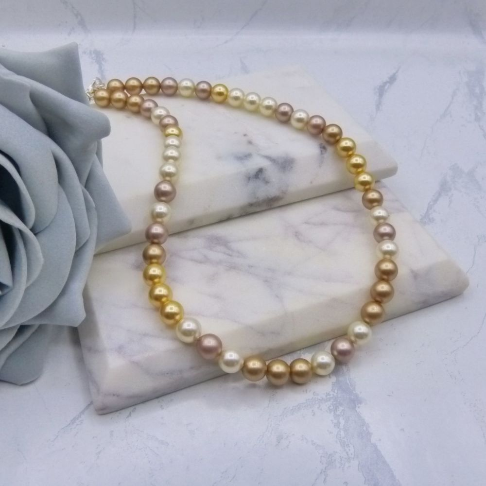 Shades of Gold Large Pearl Choker Necklace