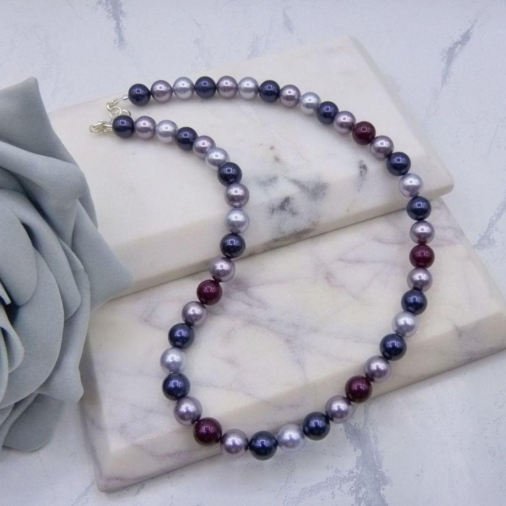 Purple Mix Large Pearl Choker Necklace