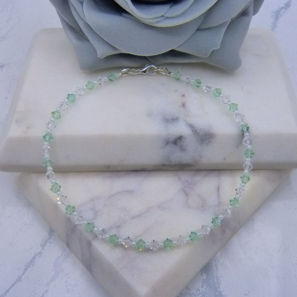 Mint Green & Clear Crystal Anklet
