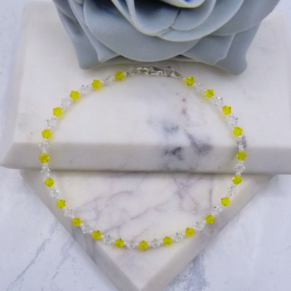 Citrine Yellow & Clear Crystal Anklet