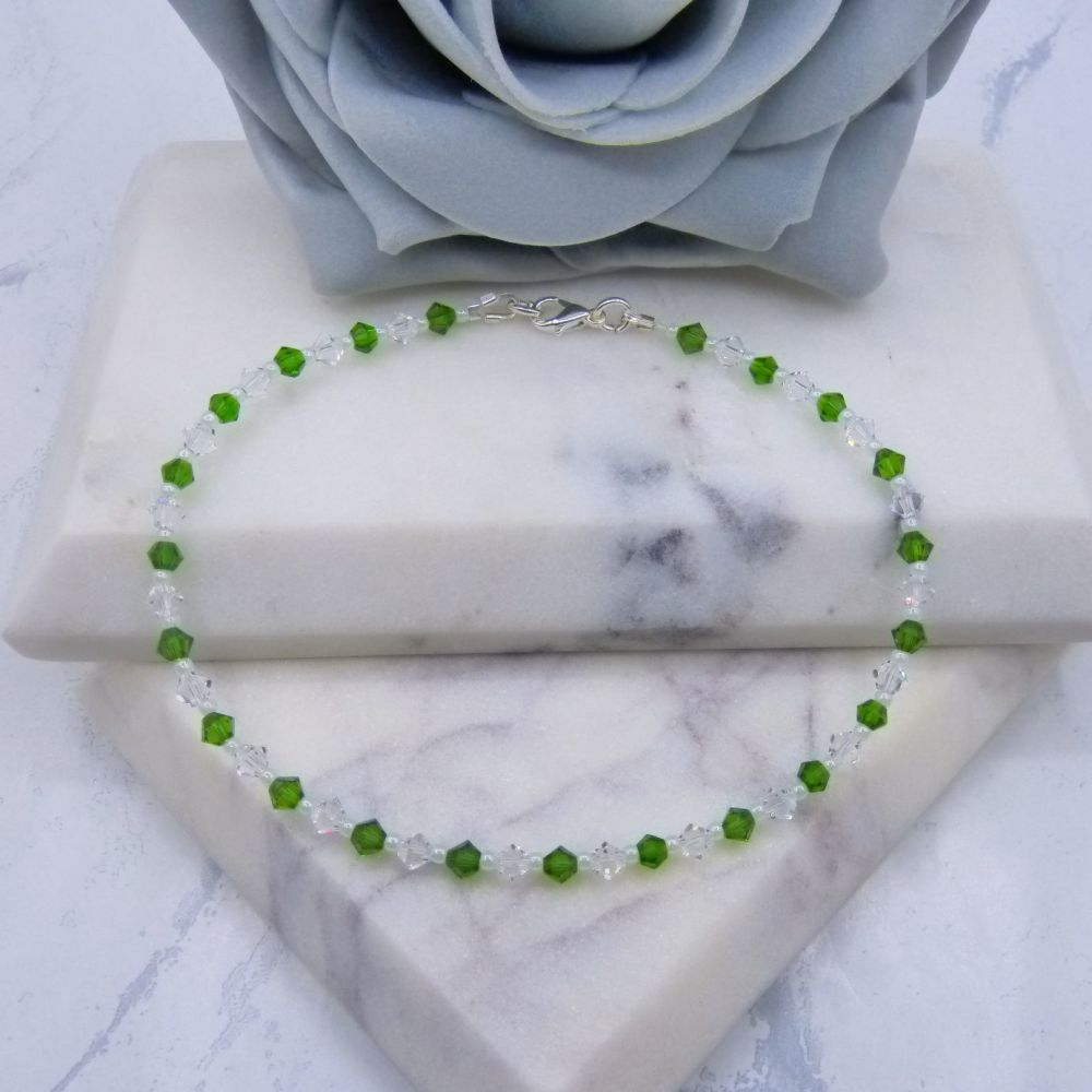 Fern Green & Clear Crystal Anklet