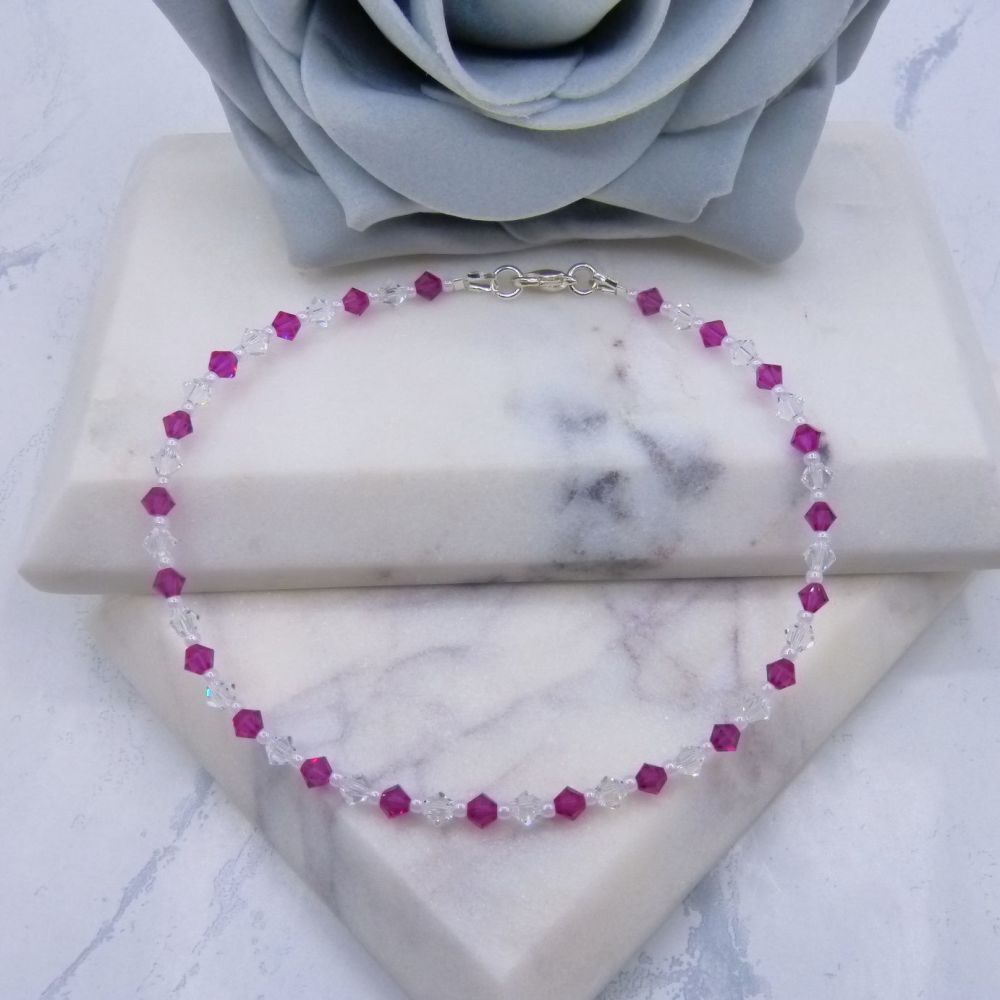 Fuchsia Pink & Clear Crystal Anklet
