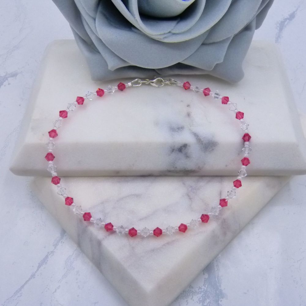 Indian Pink & Clear Crystal Anklet
