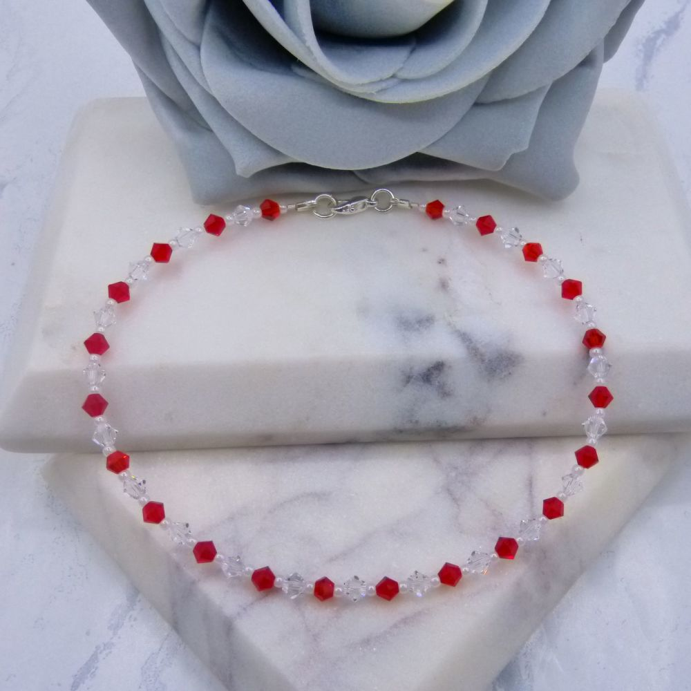 Light Siam Red & Clear Crystal Anklet