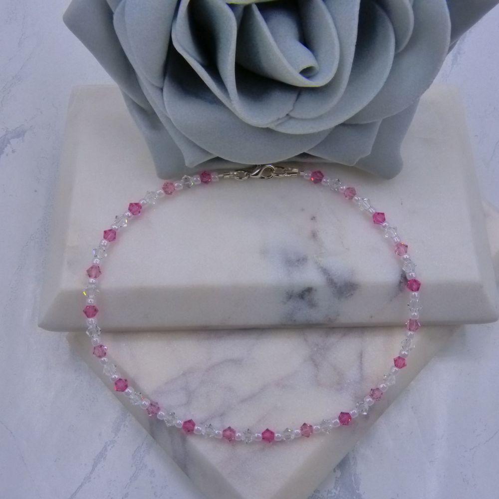 Rose/Light Rose & Clear Crystal Anklet