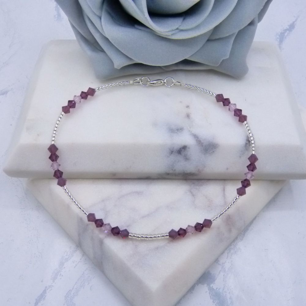 Mixed Amethyst Crystal & Silver Lined Seed Bead Anklet