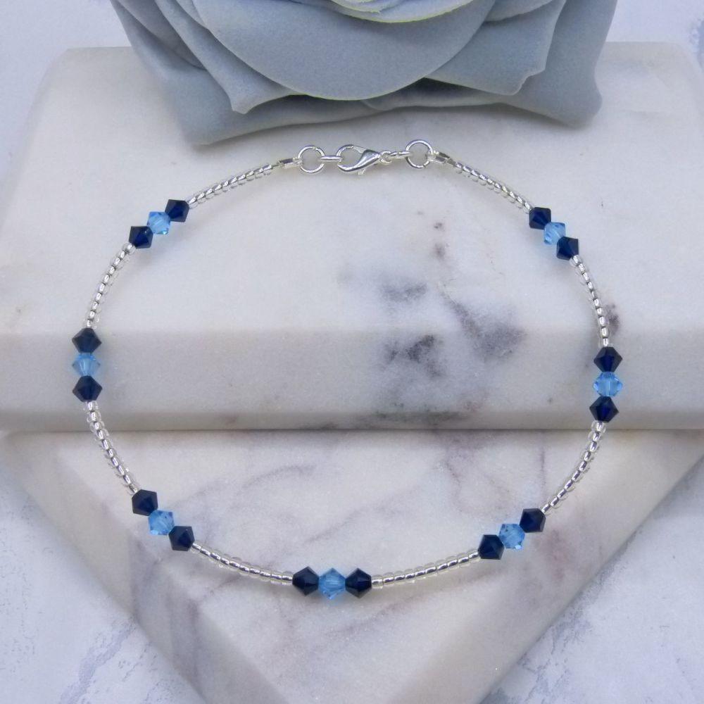 Dark Indigo & Aqua Crystal Silver Lined Seed Bead Anklet