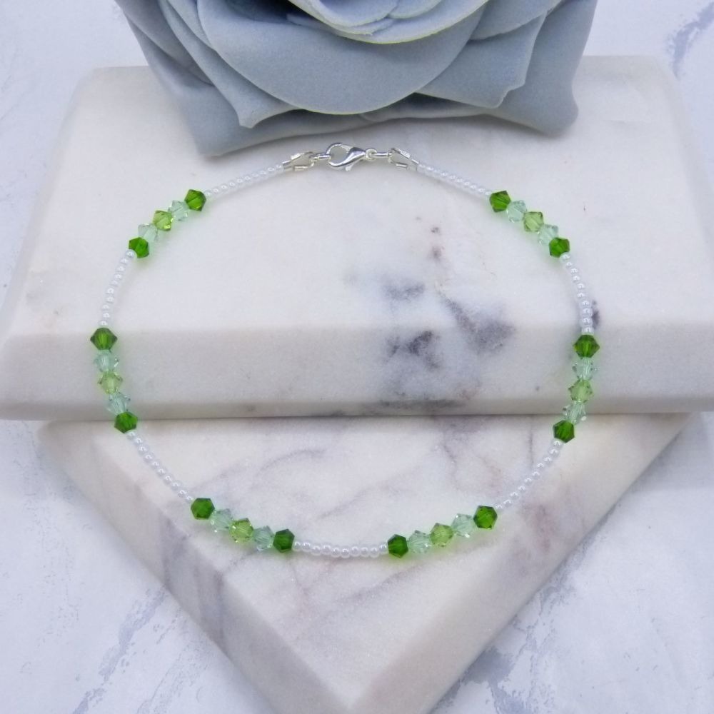 Triple Green Crystal Silver Lined Seed Bead Anklet