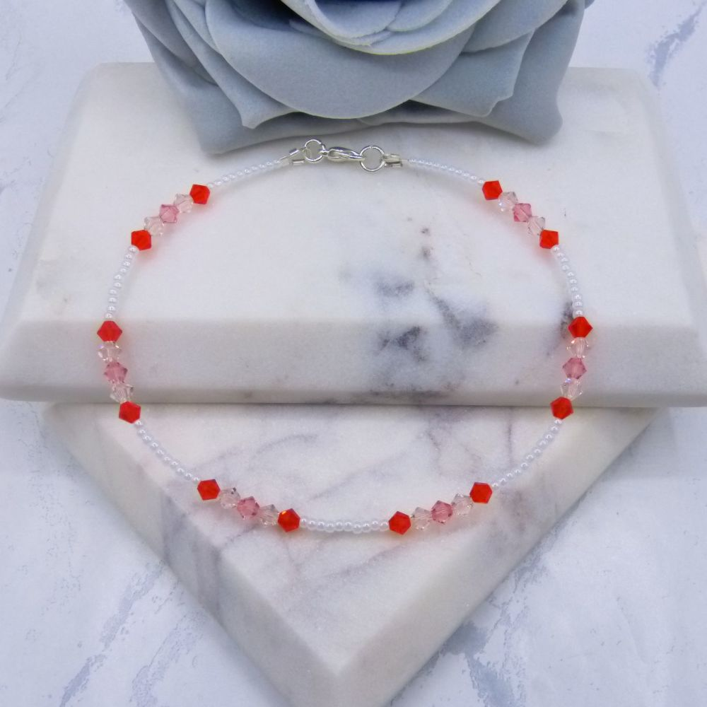 Trio of Orange Shades Crystal & White Seed Bead Anklet