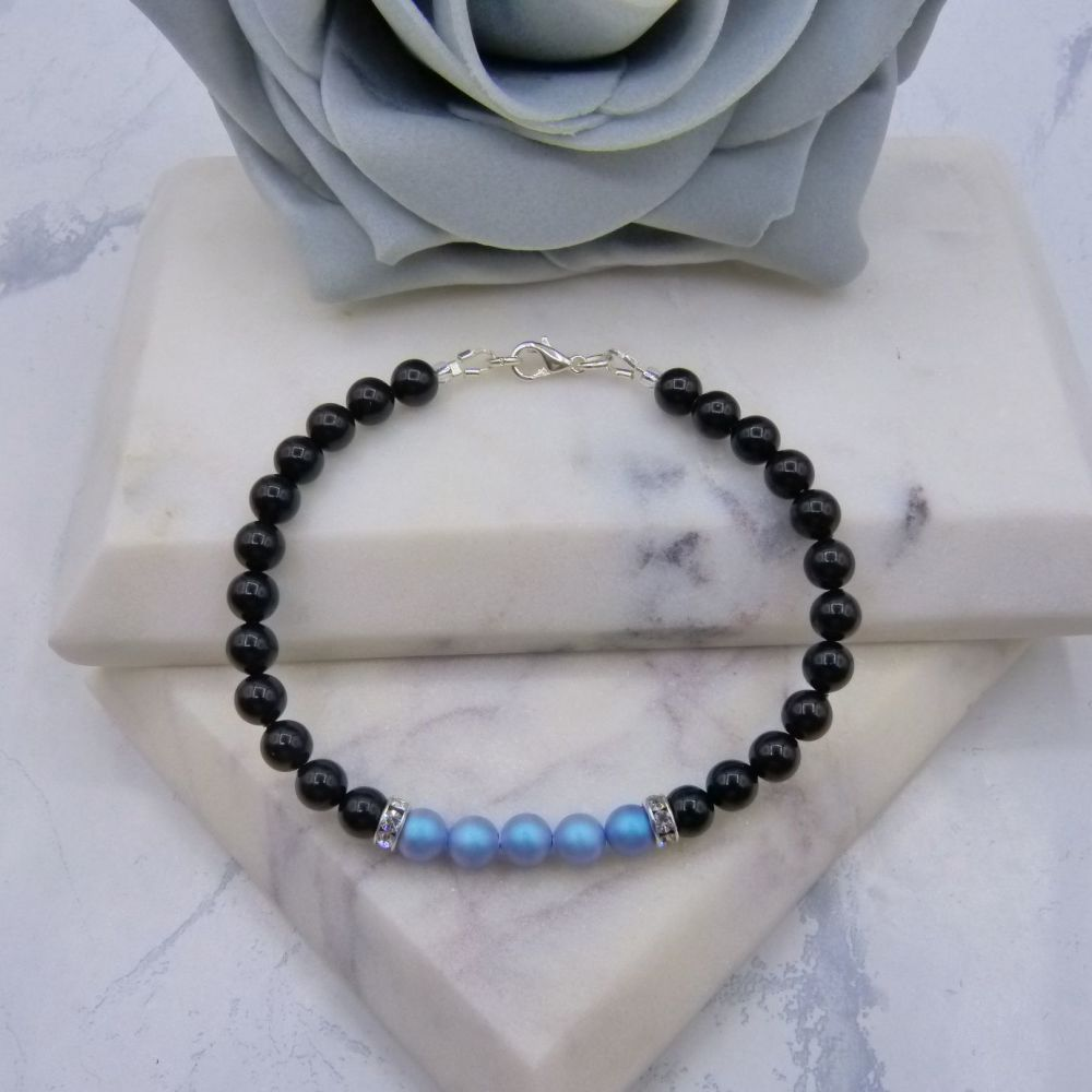 Black Pearl Colour Block Bracelet - Iridescent Light Blue