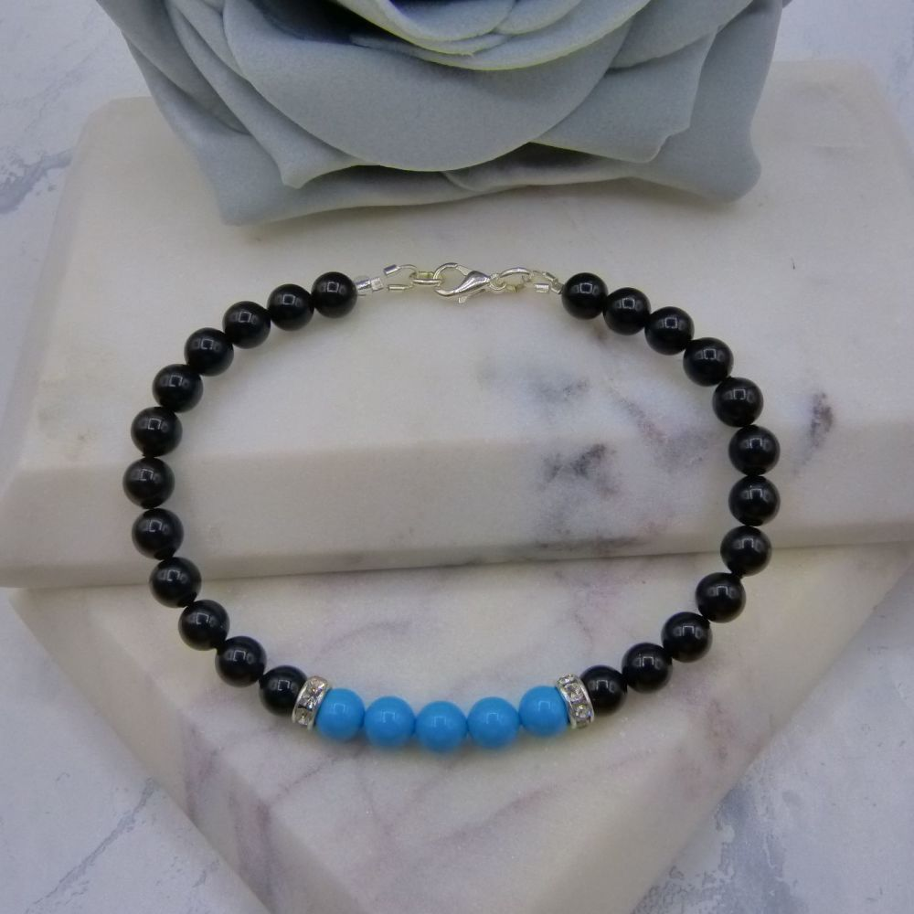 6mm Black Pearl Colour Block Bracelet - Turquoise